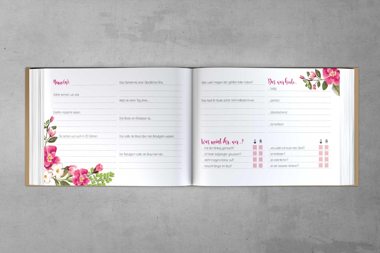 Innenseiten mit Fragen Gästebuch Kraft Pink
